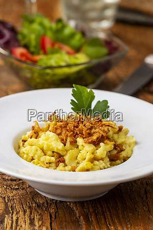 homemade swabian pasta dish on wood