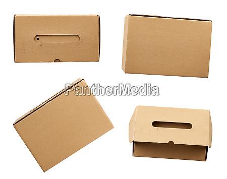 set of closed brown rectangular cardboard