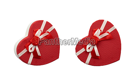 red heart shaped cardboard box with