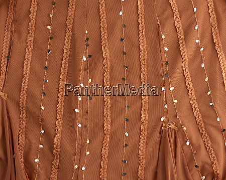 brown tulle with sequin embroidery and