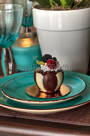 white and dark chocolate mousse dessert
