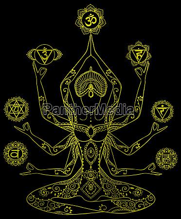 yoga kundalini healing golden metallic chakras