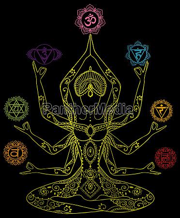 yoga kundalini healing silver metallic chakras
