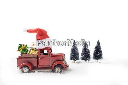 christmas toy santa truck with gift
