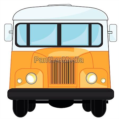 retro bus type frontal on white