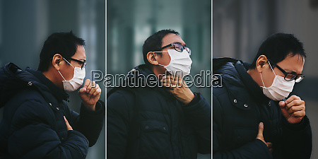 asian man suffer from cough with