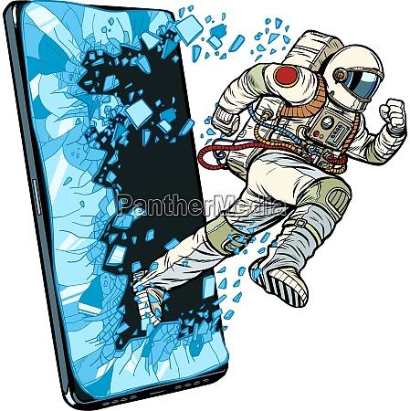 scientific online applications concept astronaut runs