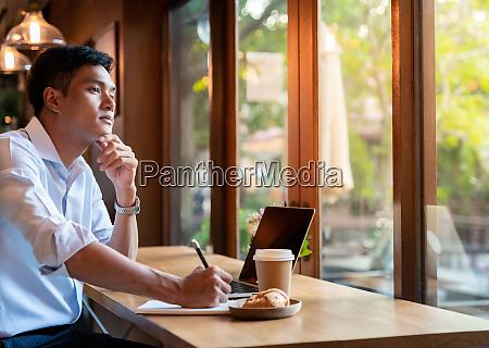 college stusent in cafe