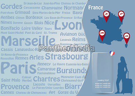 travel to france template vector with