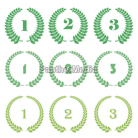 green leaves different wreath award icon