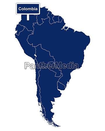 colombia mit suedamerikakarte und strassenschild
