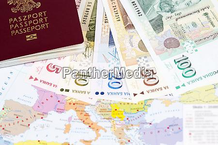 passport with bulgarian money on the