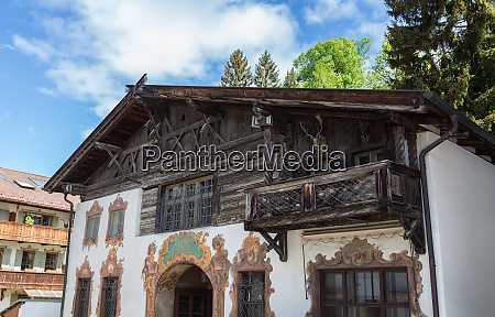 historic facade in garmisch partenkirchen bavaria