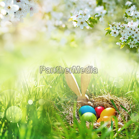 meadow with colorful easter eggs