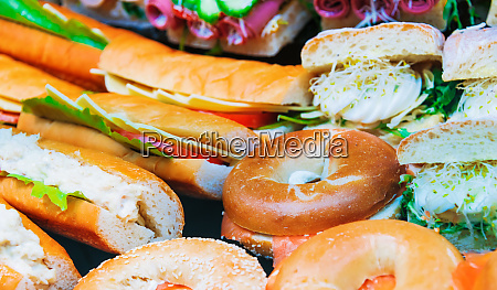 variety of freshly prepared sandwiches in