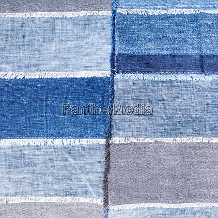 patchwork from various denim flaps