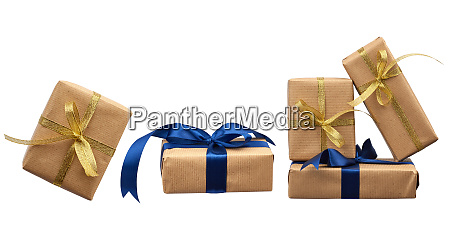 stack of gifts wrapped in brown