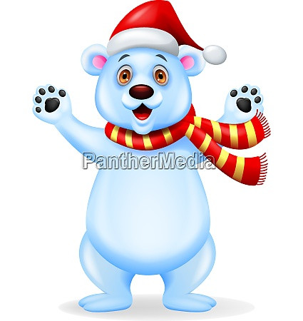 polar bear with red hat