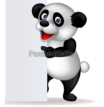 panda and blank sign
