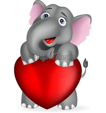 elephant embrace red heart