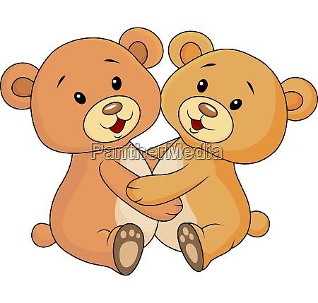 cute bear embrace each other