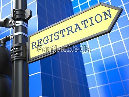 registration yellow roadsign