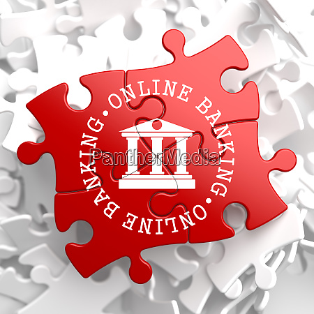 online banking concept on red puzzle