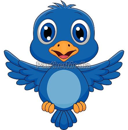cute blue bird cartoon flying