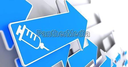 syringe icon on blue arrow