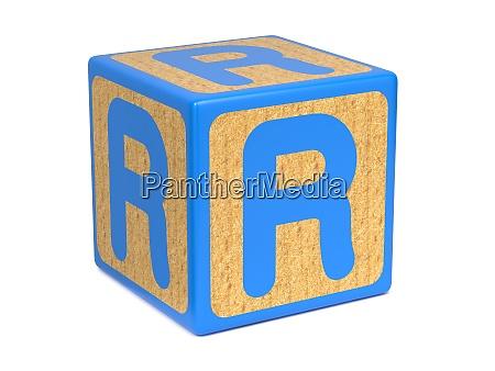 letter r on childrens alphabet block