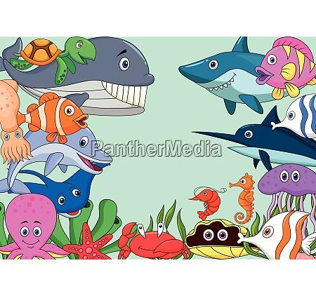 sea, life, cartoon, background - 28008194