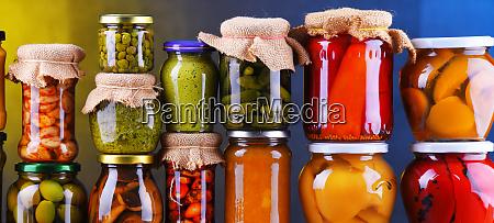 jars with variety of pickled vegetables