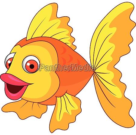 cute golden fish cartoon