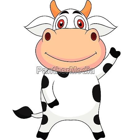 cute cow cartoon waving