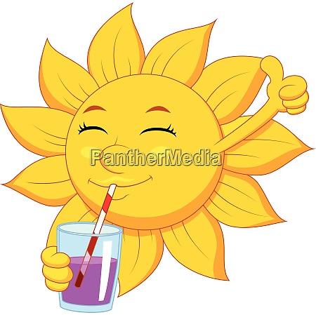 sun cartoon character drink