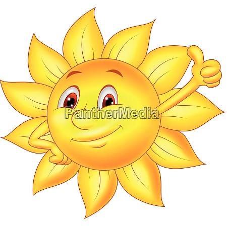 sun cartoon character thumb up