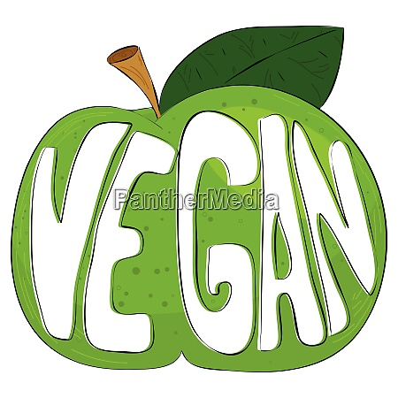 the text vegan on a green