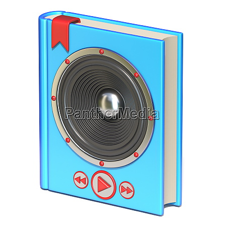 blue book with speaker and buttons