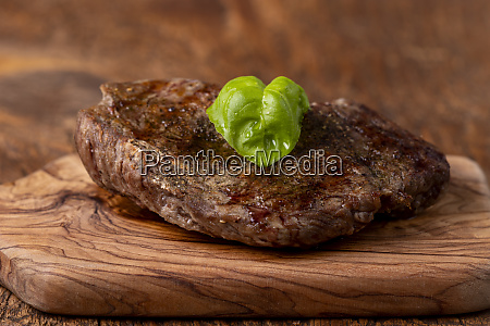 overview of a grilled steak on