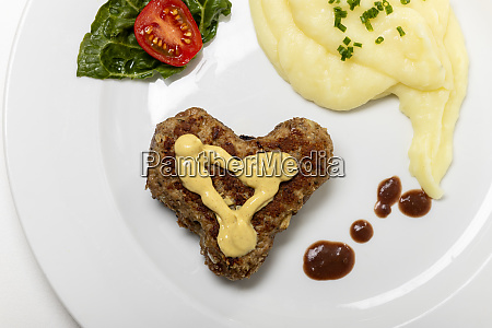 heart shaped meat loaf on a