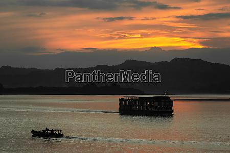 ayarwaddy river sunset myanmar