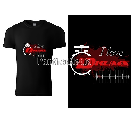 black t shirt with drum and