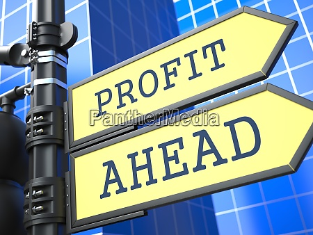 profit ahead yellow roadsign