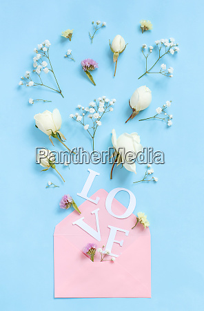word love flowers and pink envelope
