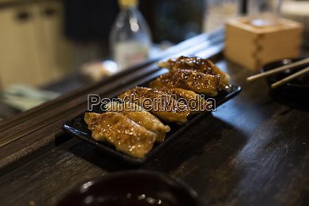 japan takayama tray with fried gyozasserved
