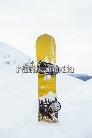 snowboard on top of a snowy