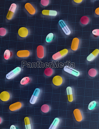 directly above shot of colorful medicines