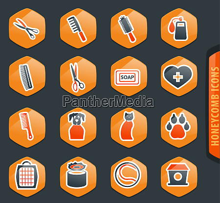 goods for pets icons set