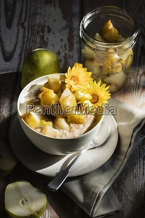 high angle view of porridge with