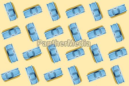 vintage blue cars pattern on pastel